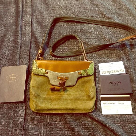 23d0f82f0a24 Prada Bags | Authentic Vintage Suede Snakeskin Purse | Poshmark